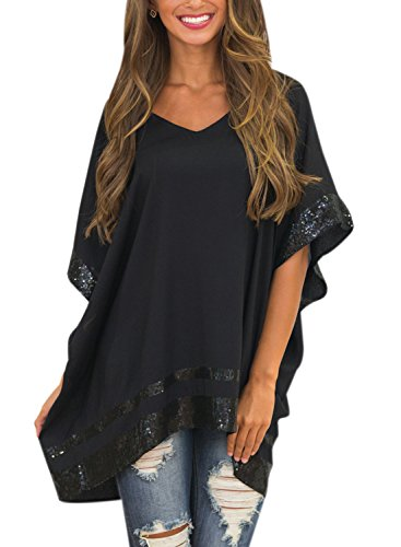 Nlife Frauen Kurzarm Pailletten Design Asymmetrische Hem Casual Bluse Tops (XL, Black) (Design Tunika)