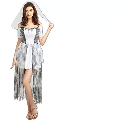 thematys Braut Brautkleid Kostüm-Set für Damen - perfekt für Fasching, Karneval & Halloween - Einheitsgröße 160-180cm (Zombie Braut Und Bräutigam Kostüm)