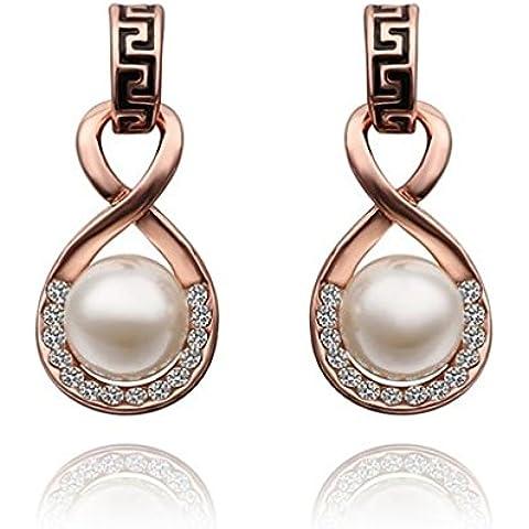 Alimab Joyería Chapado en oro Gota pendiente Pendiente de perla en oro rosa la figura 8 - Pendientes para Mujer