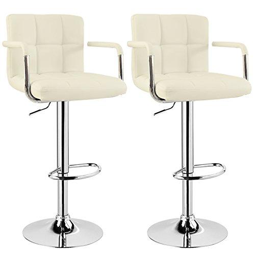 WOLTU BH16cm Serie Design Barhocker mit Armlehne, 2er Set, stufenlose Höhenverstellung, verchromter Stahl, Antirutschgummi, pflegeleichter Kunstleder, gut gepolsterte Sitzfläche (Creme)