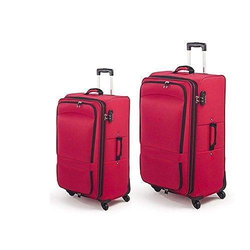 Juego de 2 Maletas de tela con 4 ruedas y candado de 3 digitos de 71 y 105 litros (Rojo)