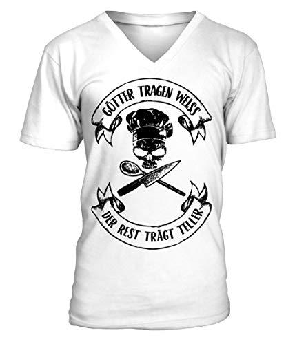 Koch-Shirt | GÖTTER TRAGEN Weiss/Gastro T-Shirt/Arbeitskleidung/Lustig Männer T-Shirt