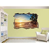 Palm Trees on The Tropical Beach Photo Hole in Wall Sticker Wall Mural (41626529) (60cm x 40cm)