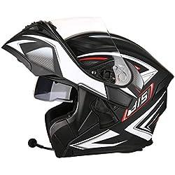 OUTO Descubrimiento Casco Motocicleta Montar al Aire Libre Bluetooth Auricular HD Espejo antivaho Casco Integral Hombres y Mujeres Personalidad Fresca (Color : Black Lines, Tamaño : XL)