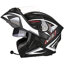 OUTO Descubrimiento Casco Motocicleta Montar al Aire Libre Bluetooth Auricular HD Espejo antivaho Casco Integral Hombres