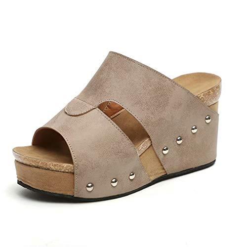 Sandalen Damen Keilabsatz Sommer High Heels Plateau Mode Bequem Comfort Pantoletten Schwarz Braun Beige Size 35-43 Beige 35EU -