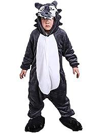 Cliont Niños Animal Lobo Onesie Pijama Navidad niño Traje de Noche Cosplay Anime