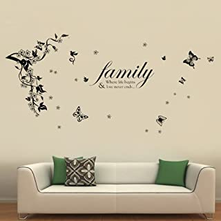 Walplus 168x60 cm Wall Stickers Butterflies Vine Family Quotes Vinyl Home Decoration DIY Living Bedroom Office Décor Wallpaper Kids Room Gift, Multi-colour
