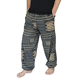 Love Quality Amor Calidad Baggy-Pantalones de Escalada para Hombre Talla única Impreso 100% algodón harén Pantalones Hippie Boho - Gris -