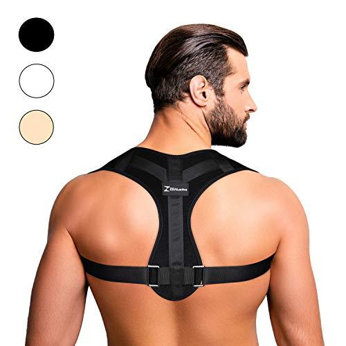ZEALactive Haltungstrainer zur Haltungskorrektur - elastisch & atmungsaktiv - Geradehalter für eine gesunde & aufrechte Haltung bei haltungsbedingten Rücken & Nackenschmerzen (Schwarz,M)