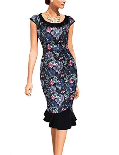 Minetom Donne Elegante Estate Vestito Pizzo Orlare Vestito Sera Partito Vestito 50S Clubwear Colorato Fiore 48