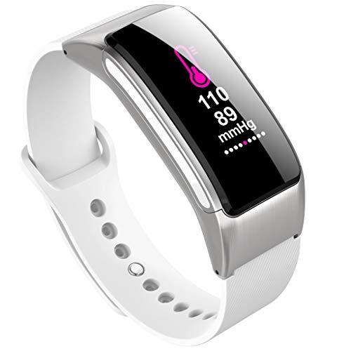 Fitness Armband mit Blutdruckmessung,AI intelligente Sprach Smartwatch Fitness Tracker mit Pulsmesser Fitness Uhr Blutdruck Messgeräte Pulsuhr Schrittzähler Uhr Anruf SMS SNS (Weiß)