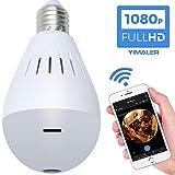 HUWAI WiFi Hide Spy Bulb Camera, Caméra panoramique à 360 degrés 960P Système de caméra de sécurité à la Maison avec Objectif Fisheye pour caméras de sécurité pour Enfants et Animaux de Compagnie