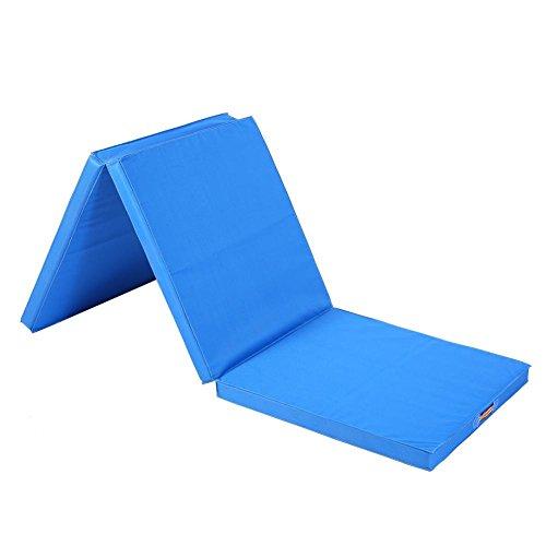 Faltbare Gymnastikmatte,Premium Faltbar Yogamatte Gepolstert & Rutschfest Gymnastikmatte Rutschfest Yoga Matte Fitnessmatte Trainingsmatte Dicke Sportmatte für Yoga Pilates 180*60*5cm(Blau)