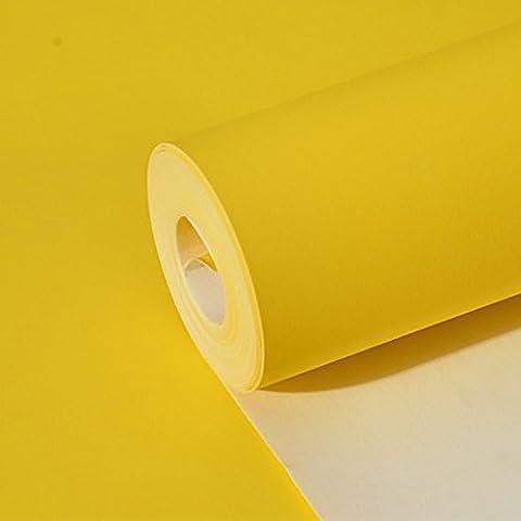 ZQ@QXCouleur pure simple papier peint intissé, papier peint, 53*1000cm, jaune