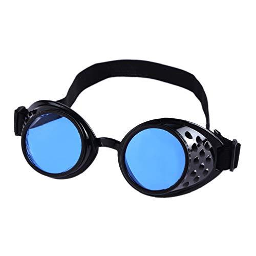 Mode Herren Retro Runde Sonnenbrille für Damen, Bluelucon Brillen Vintage StilRivet Steampunk...