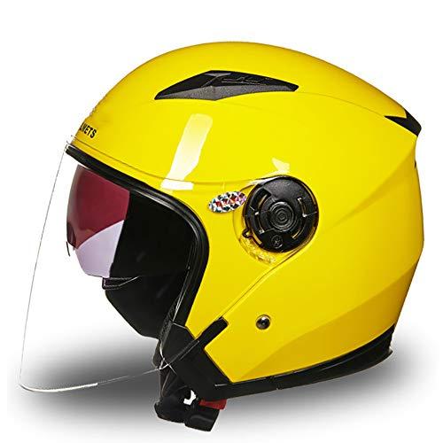 MMGIRLS Harley Mezzo Casco 3/4 Casco Moto Aperto Certificazione DOT per Uomini e Donne Tutte Le Stagioni - Giallo,L