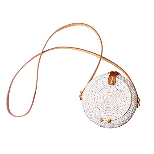 kapokilly Runde Flip Woven Tasche, Butterfly Bag Rattan Umhängetasche Damen Stroh Korbtasche Mit PU Lederband, Primärfarbe/Weiß -