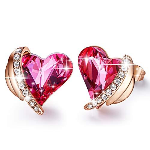 CDE Pink Angel 18K Rose Gold plattiert Ohrstecker Kristalle von Swarovski Herz Ohrring für Damen Schmuck
