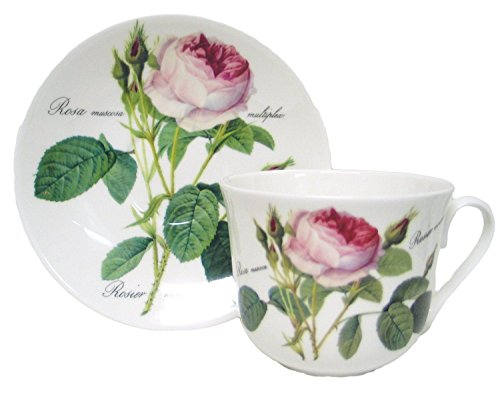 Roy Kirkham Redoute Rose Chatsworth Cup & Saucer in Fine Bone China by Roy Kirkham Roy Kirkham Bone China