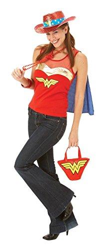 Nuovo donna Wonder Women novità Fancy Top Glitter cappello-Borsa a mano UK taglia 12/14 rosso m