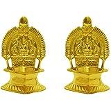 LotusFeet Spirituality Brass Kamakshi Kamatchi Devi Maa Oil Lamp Diya Deepam (Gold, 13.5 cm)-Set of 2