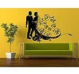 Qqasd Recién Casado Hombre Mujer Con Flores Estampadas De Belleza Etiqueta De La Pared Dormitorio Decoración Novio Novia Novia De Flores Papel Tapiz Floral 42X55Cm