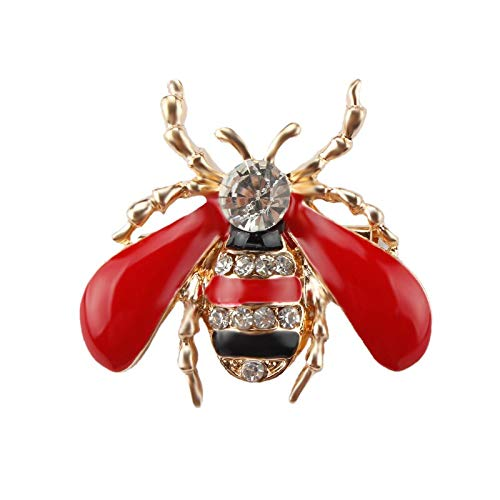 LBLFG Brosche Schwarz Rot Kristall Strass Insekt Biene Brosche Dame Oder Männer Anstecknadel 3 * 7 cm