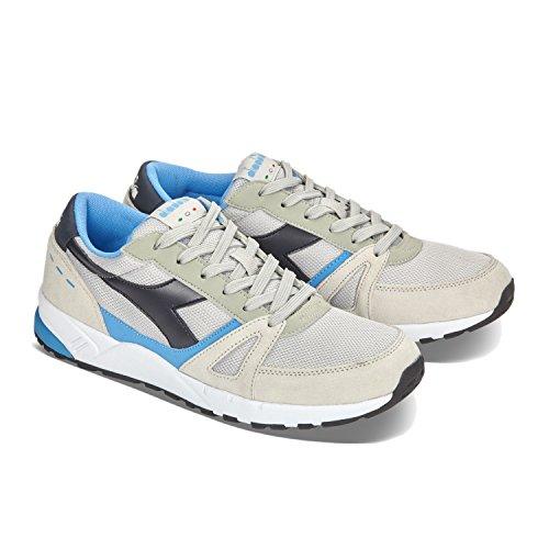Diadora Run 90, Sneaker a Collo Basso Unisex-Adulto C6490 - GRIGIO ALLUMINIO-BLU AZZURRO