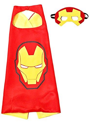 3-6 anni - set costume - travestimento - carnevale - halloween - iron man - uomo di acciaio - super eroi - colore rosso - maschera - mantello - bambino