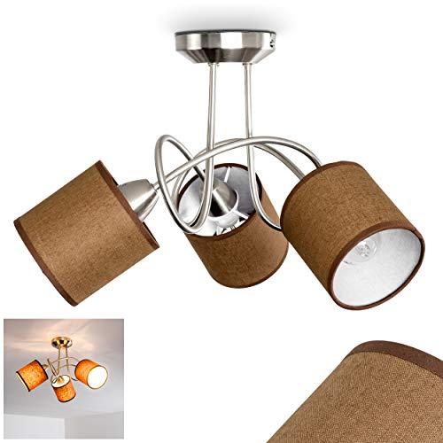 Deckenleuchte Stai, Deckenlampe aus Metall/Stoff in Nickel-matt/Braun/Weiß, 3-flammig, 3 x E14-Fassung, 25 Watt, Retro/Vintage-Design, geeignet für LED Leuchtmittel