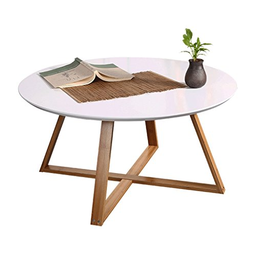 Tables de chevet Table ronde table à thé table basse table basse salon chambre table d'appoint table ronde, pieds en bambou + coupe surface design ( Color : Blanc , Size : 80*80*44cm )