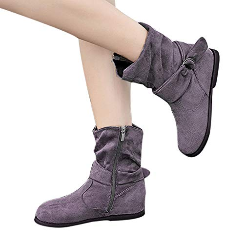 TianWlio Frauen Herbst Winter Stiefel Schuhe Stiefeletten Boots Gürtelschnalle Freizeitschuhe Flach Mit Schneestiefeln Kurze Plüsch Warme Stiefel Grau 43
