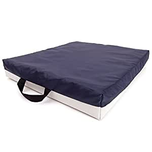 66Fit Coussin gel pour chaise roulante Bleu/blanc 40 cm x 45 cm x 7 cm