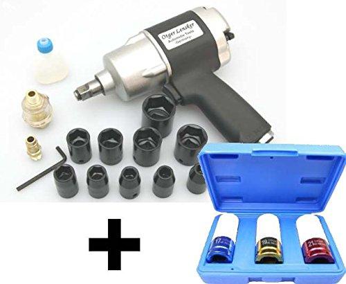 Clé à choc pneumatiques 1/ 2″ 610 Nm + 3 douilles a choc 17-19-21 mm 1/2″pas cher