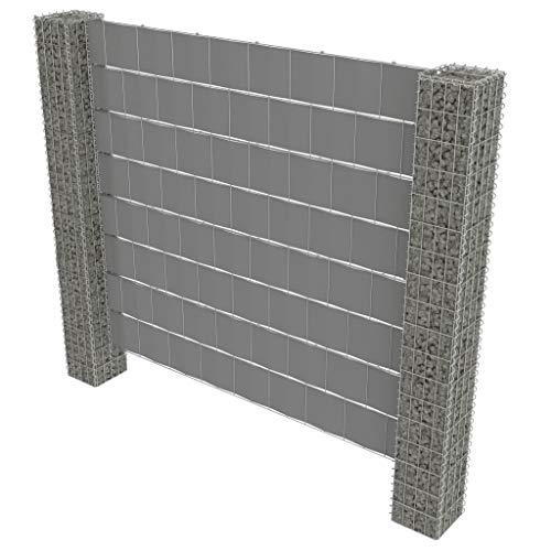 Festnight- Clôture de Gabion et 2 poteaux en Acier galvanisé Décoration clôture de Jardin de sécurité clôture Exterieur Bordure 220 x 180 cm