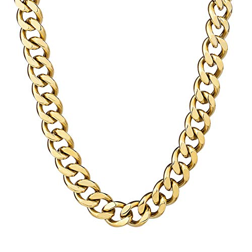 KRKC&CO Gold Chain for Men Cuban Chain, 12mm Miami Cuban Link Chains, 14k Gold Solid No Tarnish Necklace, Durable Street-wear Hip Hop Chains for Men (14k Gold, 24)