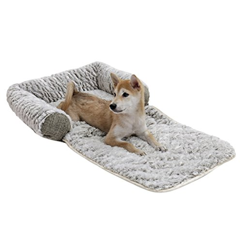 Dog Sofa Bed blanket 3 IN 1 Fold Out Bed with Sofa Furniture Protector Pet Cover with Bolster Fleece Warm Bed Grey 2 Size