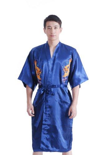 JTC Homme Vêtement de Nuit Peignoirs de Bain Robe de Chambre Dragon Brodé Chinois Avec Ceinture (bleu foncé)