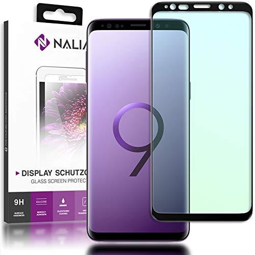 NALIA Schutzglas kompatibel mit Samsung Galaxy S9, 3D Full-Cover Displayschutz Hüllen-Kompatibel, 9H Glas-Schutzfolie Handy-Folie, Schutz-Film Smart-Phone HD Screen Protector - Transparent (schwarz)