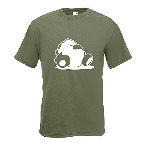 KIWISTAR - Sleepy Panda T-Shirt in 15 verschiedenen Farben - Herren Funshirt bedruckt Design Sprüche Spruch Motive Oberteil Baumwolle Print Größe S M L XL XXL Olive