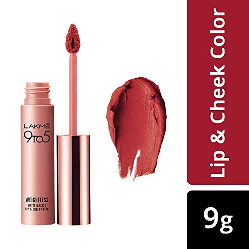 Lakme 9 to 5 Weightless Mousse Lip and Cheek Color, Crimson Silk, 9 g