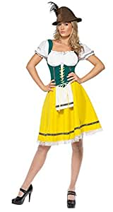 Smiffy's Oktoberfest Costume Female Dress with Attached Apron - Small
