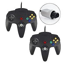 QUMOX 2 x Controlador de joystick Mando de Juego para Nintendo 64 N64 System GamePad, Negro