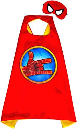 mhänge und Maske - Superhelden Cape und Maske Superhelden-Kostüme für Kinder - Spielsachen für Jungen für Fasching oder Motto-Partys - King Mungo - KMSC029 (Superhelden Cape Rot)