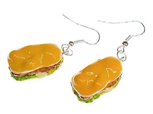 Hot Dog Ohrringe Hänger Miniblings Burger Fast Food Sandwich Amerika Essen 3D Fast-food-sandwiches