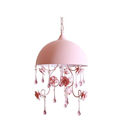 Preisvergleich Produktbild GJY Semicircle Pink Restaurant Small Chandelier, Pastoral Style Rose Flower Iron Creative Bedroom Stair Ladder Chandelier