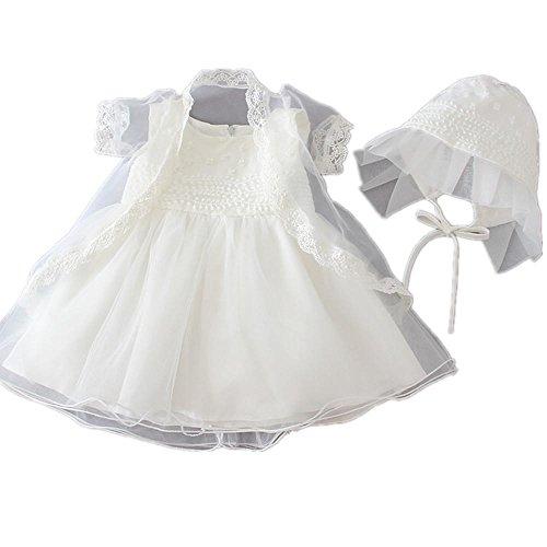 2pcs applique floreale Avorio Baby Girl battesimo Abito con cofano 1511 Ivory 18 - 24 mesi
