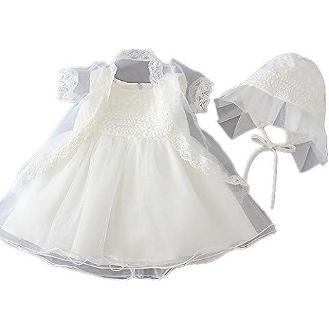 2Pcs apliques florales Marfil Baby Girl Christening vestido de bautismo con Bonnet 1511
