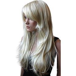PRETTYSHOP Peluca de la peluca de pelo largo ondulado cosplayrubio PHK9